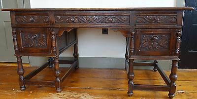 Jacobean Style  Oak Desk with Nice Carving