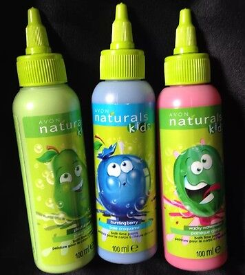 Avon Naturals Kids Bath Time Body Paints - 3 X 100Ml - Pear, Watermelon & Berry