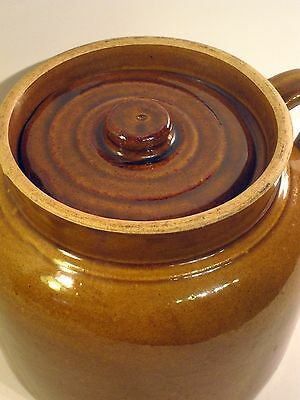 EARLY #2 Stoneware BEAN POT w/ lid, one handle -GREAT GLAZE EXC Condition