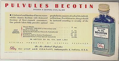 c1940s Pharmaceutical blotter adv Pulvules Becotin by Eli Lilly Company IN