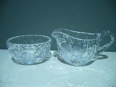 Stunning Crystal Matching Creamer And Sugar Bowl Set - Just Lovely - Small Af