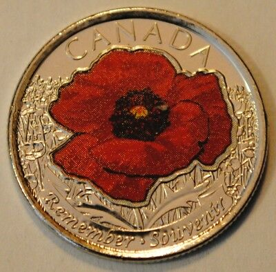 Canada 2015 25 cents Coloured Poppy UNC from roll - BU Canadian Quarter