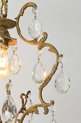 Antique French bronze & crystal cage chandelier