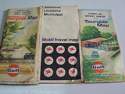 Vintage Set of 3 Late 1960's Gulf/Mobil Oil Maps of the South United States