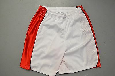 New Balance WHITE Red Stripes Throwback Mens Team Blank Lacrosse Shorts AS-IS