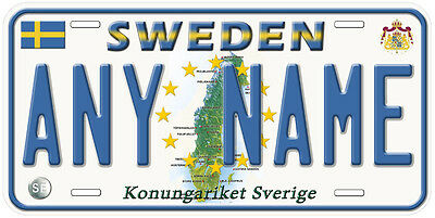 Sweden Any Name Personalized Novelty Car License Plate B01