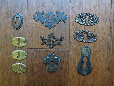 lot of  10 Antique Vintage  Brass Key Hole Covers