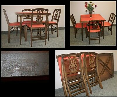Vintage STAKMORE Mid-Century Carved Wood & Vinyl 4 Folding Chairs & Table Set