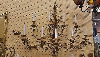 "Huge 56"" Vtg Italian 9 Arm Iron & Wood Tole Leaf Crystal Wall Chandelier Sconce"