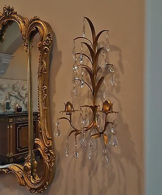 Pair Mid Century Authentic Italian Wheat Tole Candle Sconces Facet Lead Crystals
