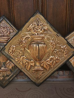 """3 Architectural Salvage 24"""" Ceiling Tile Wall Plaque Gilt Chippy Urns Grapes"""