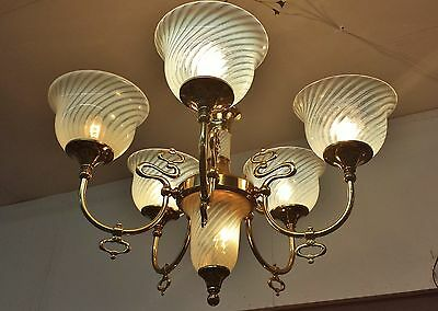 "Grand 35"" Vtg Nouveau Regency Aesthetic  Opalescent Swirl Glass Brass Chandelier"