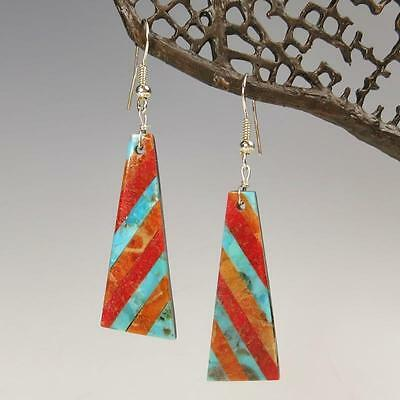 Native American Santo Domingo Turquoise Coral Inlay Earrings Chaslyn Crespin