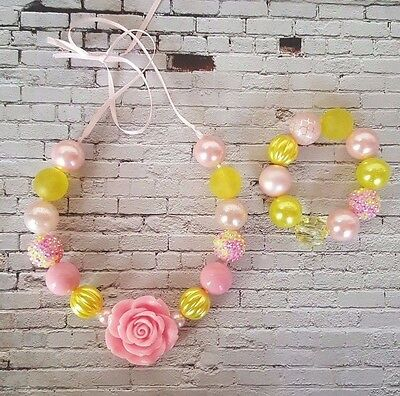 Chunky bead Necklace & Bracelet set. Handmade. 20mm beads. Pink & Yellow