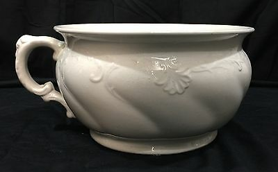 Antique W Adams & Sons England White Off White Chamber Pot