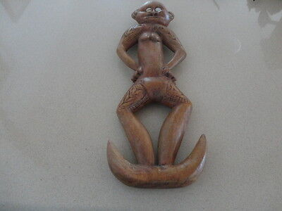 A Papua New Guinea hand carved vintage  wooden tribal food hook ancestor figure