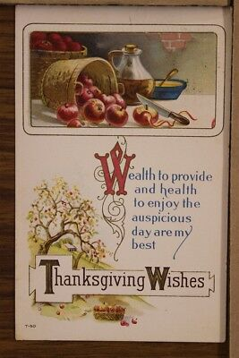 "ANTIQUE 1910's THANKSGIVING POSTCARD ""Embossed Gold Gilt Harvest Wishes"" Posted"