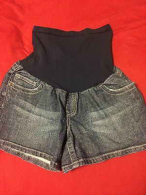 Womens Maternity Over The Belly Denim Shorts Sz Large