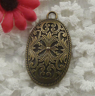 free ship 15 pieces bronze plated flower pendant 46x26mm #2223