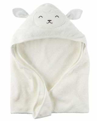 New Carter's Hooded Bath Towel Happy Lamb Face Terry Material NWT Baby Ivory