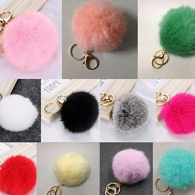 Fluffy 8cm Rex Rabbit Fur Ball PomPom Charm Car Keychain Phone Handbag Key Ring