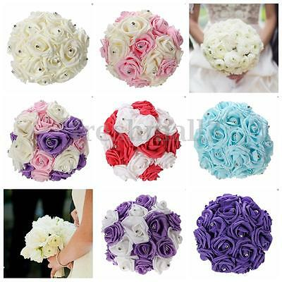 Crystal Fake Artificial Foam Rose Flower Bouquet Bridal Bridesmaid Wedding Party