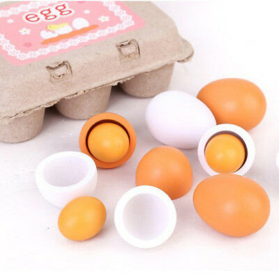 6pcs Preschool Educational Kid Pretend Play Toy Wooden Eggs Yolk Children Gift