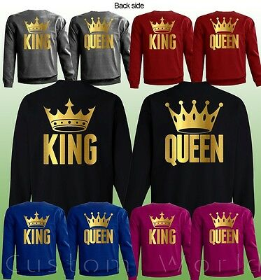 King & Queen Gold Color His And Hers New Color Love Matching Couple Sweaters