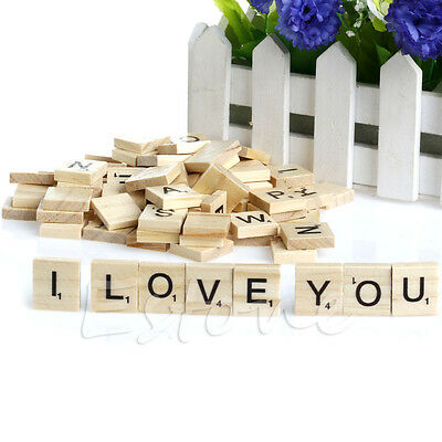 100X Wooden Alphabet Scrabble Tiles Black Letters & Numbers For Crafts Wood