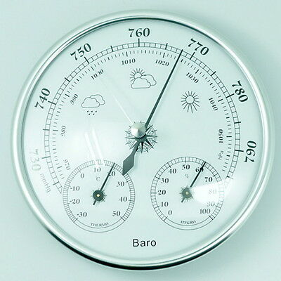 130mm Wall Hanging Barometer Weather Thermometer Hygrometer Home 960~1060hPa &