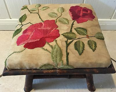 VINTAGE ANTIQUE PERIOD BAMBOO FOOT STOOL WITH EMBROIDERED TOP c.1900