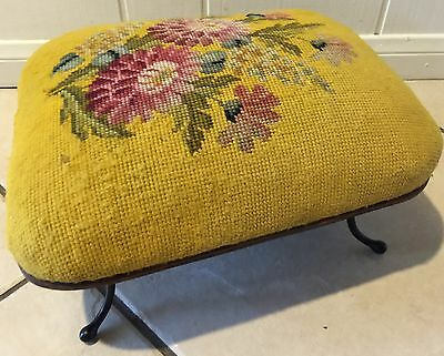 Vintage Antique Needlepoint Footstool Eccentric-Shaped Mustard Floral Field