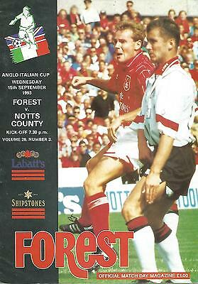 Football Programme - Nottingham Forest v Notts County - Anglo-Italian Cup - 1993