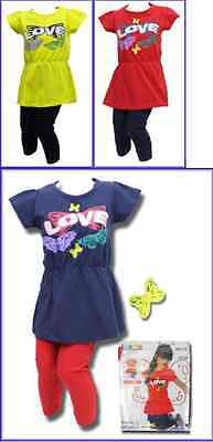 Free P&P BUTTERFLY/LOVE GIRLS 2 PIECE T-SHIRT TOP & LEGGINGS AGES 2 3-4 5-6 YRS