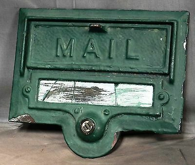 Antique BRONZE Doorbell MAIL Slot Box Face Green Paint HELM CO Architectural