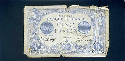 France French 5 Cinq Francs Banknote 1916