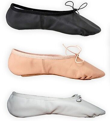 Ballet Leather Dance Yoga Gymnastic Full Sole Shoes With Attached Elastics