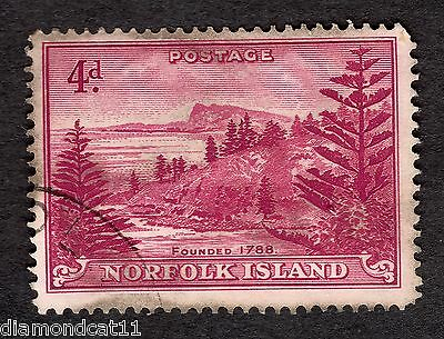 1947 Norfolk Island 4d Red SG 7 Good Used R9775