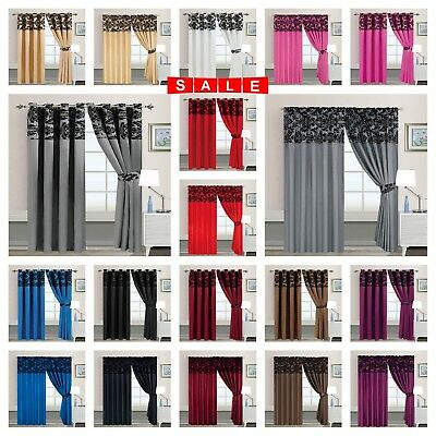 LUXURY FLOCK Curtains Ring Top & Pencil Pleat Ready Made  Fully Lined UK Sizes