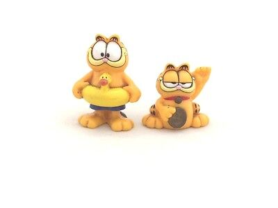 Lot 2 Pcs Vintage Swimming / Bye Bye GARFIELD Toy 1978 Paws PVC Figures Collect