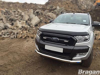 2016+ Ford Ranger T6 Stainless Steel Front Bumper Spoiler Nudge Chin Bar +LED