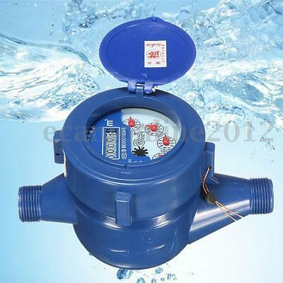 15mm Plastic Single Flow Dry Cold Water Table Garden Home Water Measuring Meter