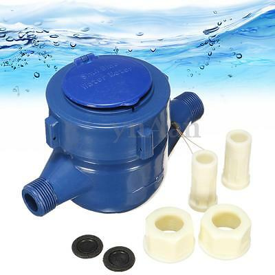 New 15mm Plastic Single Flow Dry Cold Water Table Home Water Measuring Meter