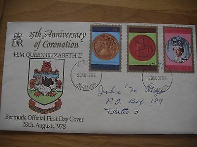 Bermuda First Day Cover 1978 - 25th Anniversary of Queen Elizabeth Coronation