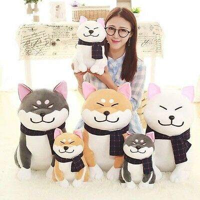 1pc Cute Kabosu Plush Doll Shiba Inu Plush Doll Doge With Scarf Kids Toy 2 Sizes