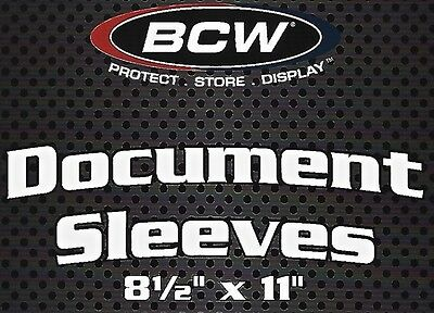 50 BCW 8.5X11 Document Sleeves  2 mil Soft Poly Sleeves