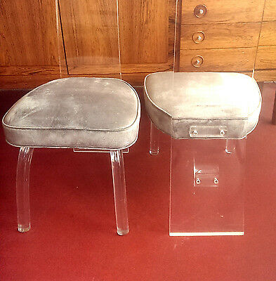 4 RARE CHARLES HOLLIS JONES LUCITE & VELVET DINING CHAIRS - SPACE AGE 1970s