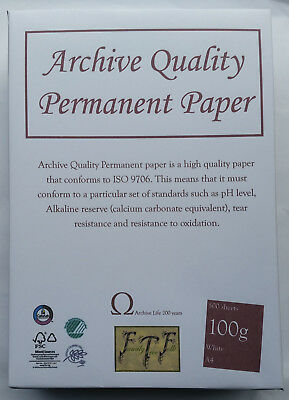 A4 100gsm Acid Free Archival Paper - 200 year guarantee 500 sheet pack