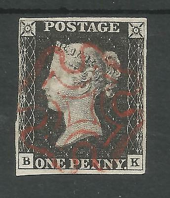 1840 Penny  Black  (Bk) Almost 4  Margins  Cancelled By Red Cross,see Scans