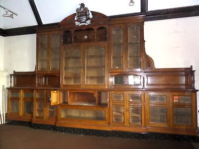 Monumental Regal Solid Oak Library Bookcase With Beautiful Carved Crest